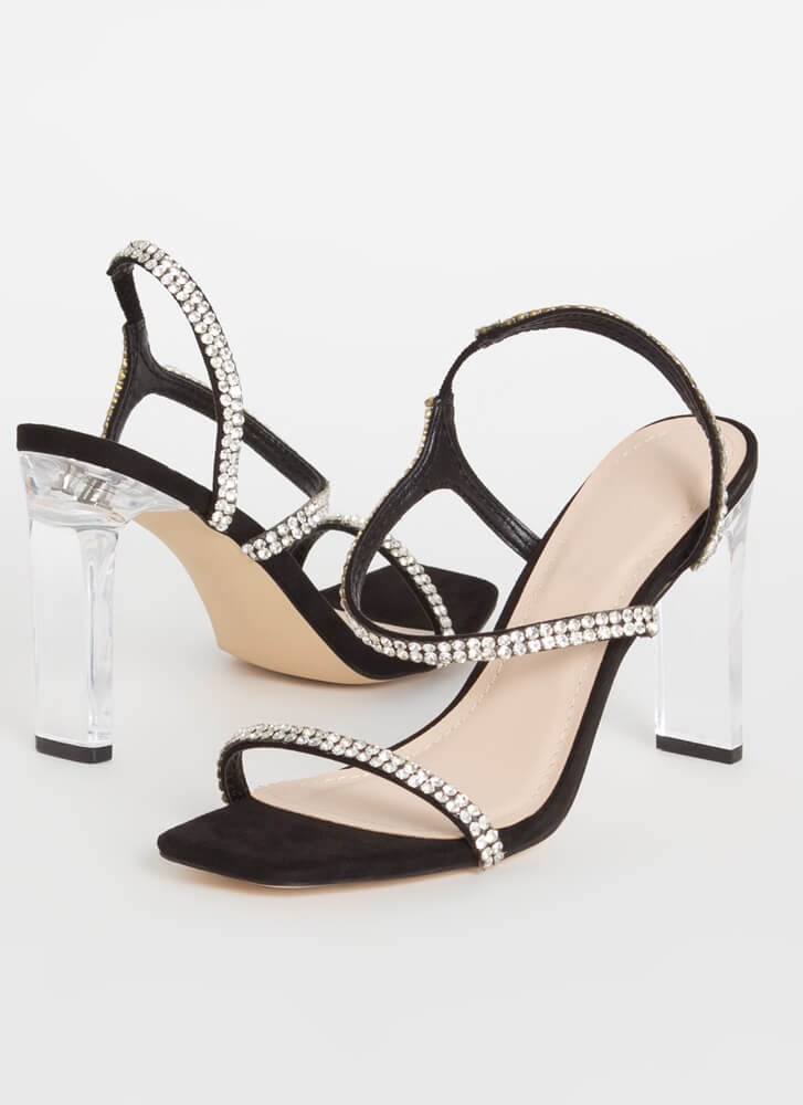 Clear Winner Jeweled Faux Suede Heels BLACK