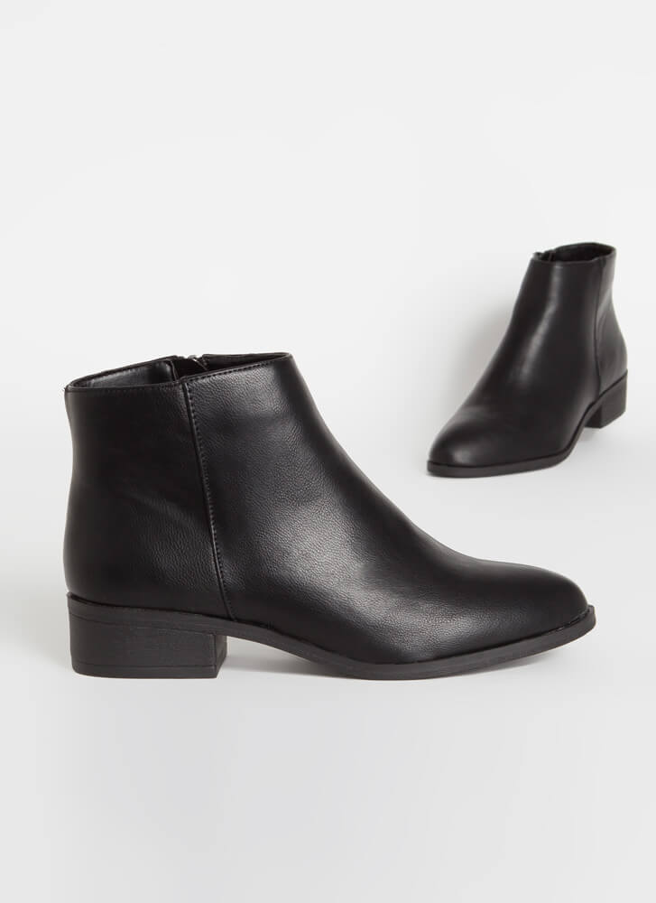 Just Go With It Faux Leather Booties BLACK