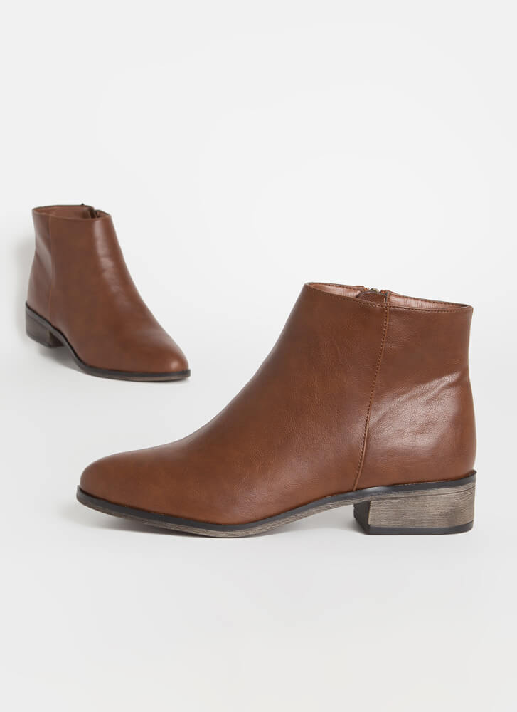 Just Go With It Faux Leather Booties CHESTNUT