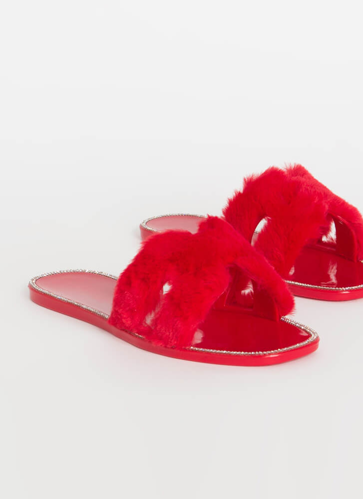 Fur Some Sparkle Cut-Out Slide Sandals RED