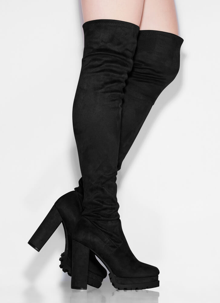 In The Name Of Lug Thigh-High Boots BLACK