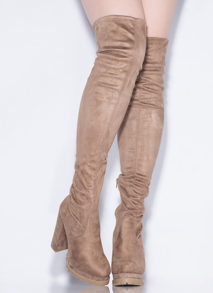 In The Name Of Lug Thigh-High Boots TAUPE