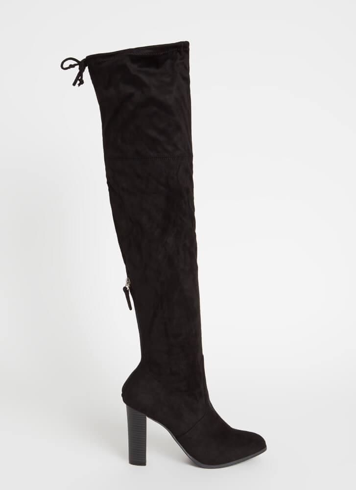It's Simple Drawstring Thigh-High Boots BLACK