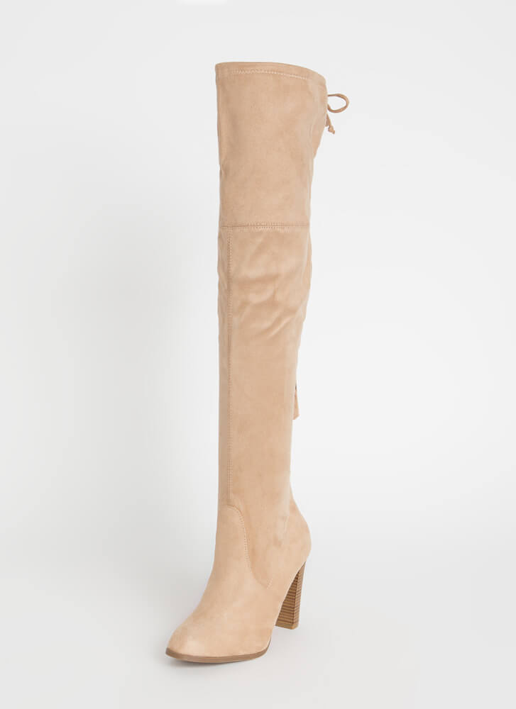It's Simple Drawstring Thigh-High Boots NATURAL