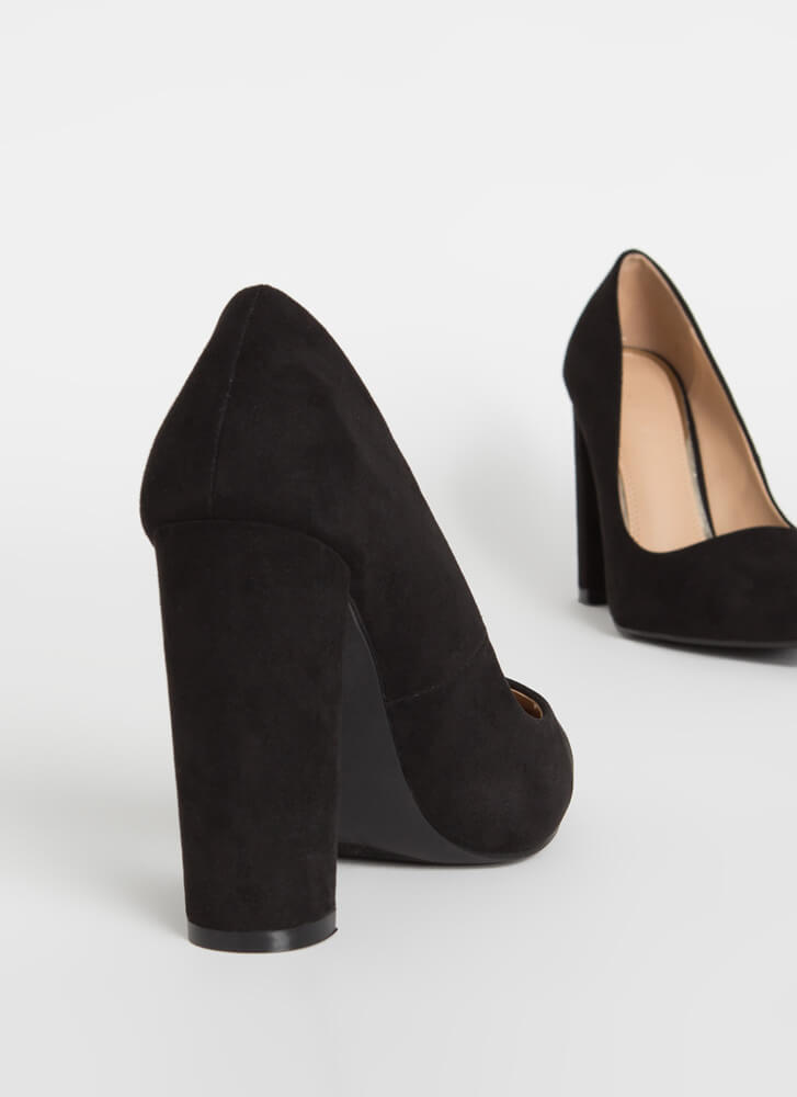 Chunky Town Pointy Faux Suede Pumps BLACK
