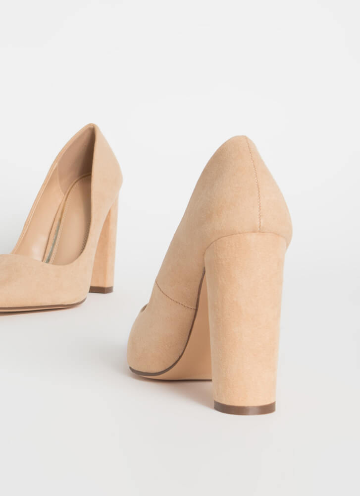 Chunky Town Pointy Faux Suede Pumps NUDE