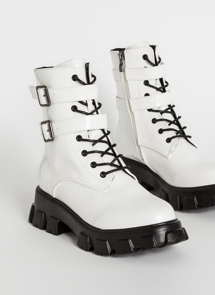 Guard Up Strappy Platform Combat Boots WHITE