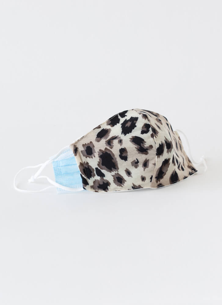 Wild Thing Pocketed Leopard Face Mask BROWN