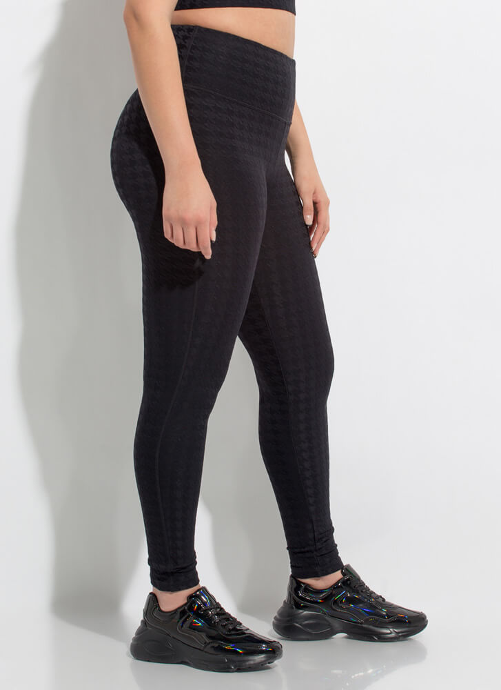 Hot In Houndstooth Pocketed Leggings BLACK