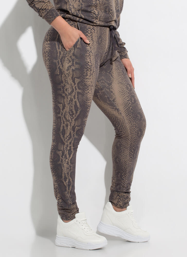 Hiss And Hers Snake Print Joggers BROWN