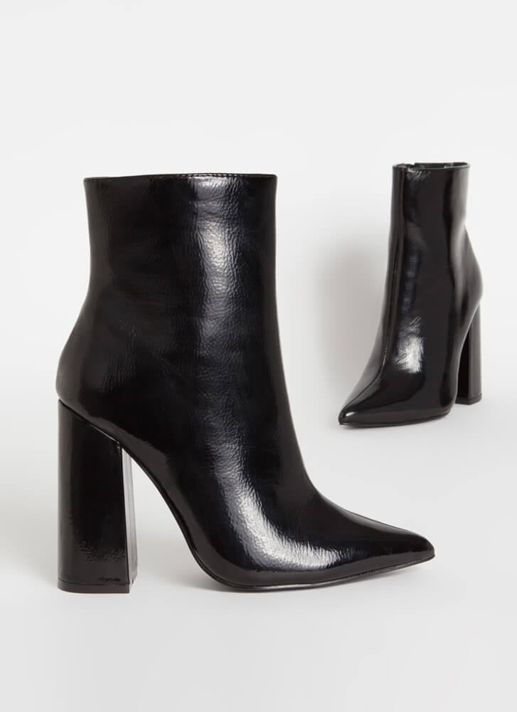 Point Person Chunky Faux Patent Booties BLACK
