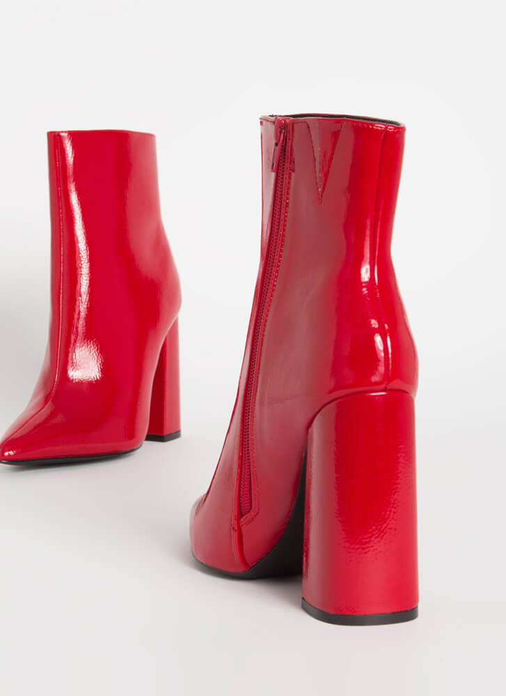 Point Person Chunky Faux Patent Booties RED