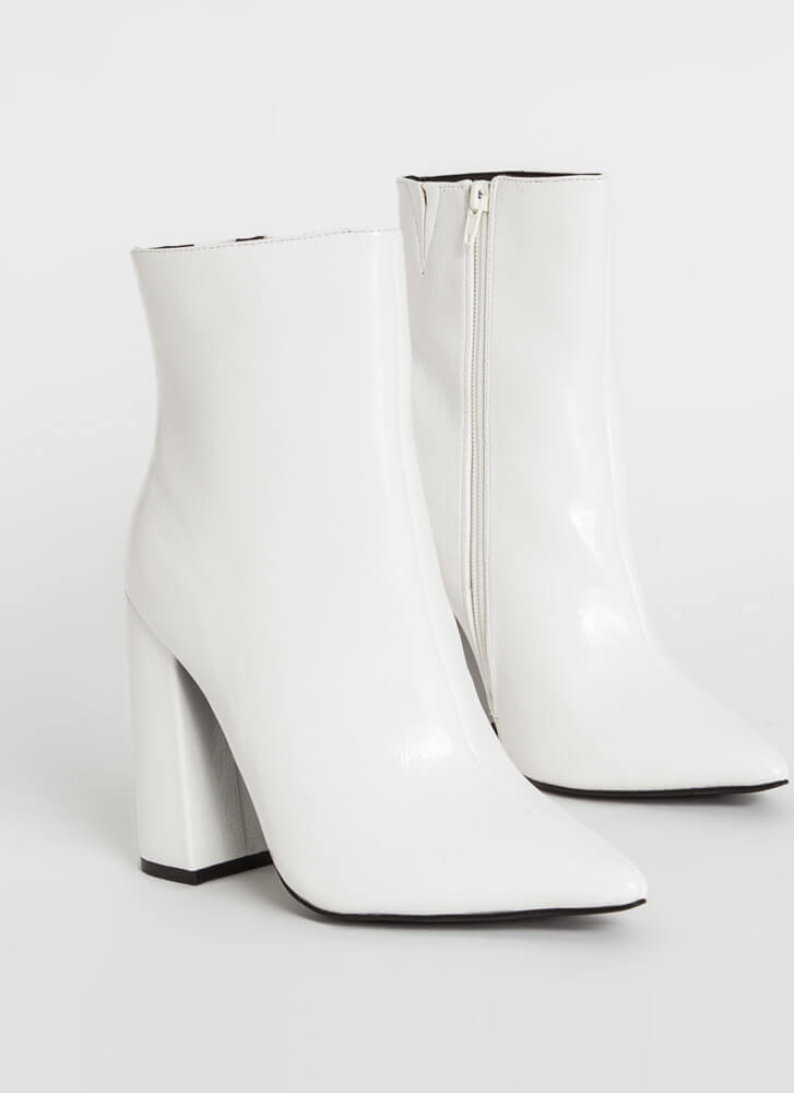 Point Person Chunky Faux Patent Booties WHITE