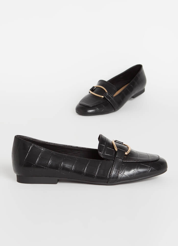 Classy Lady Faux Crocodile Loafers BLACK