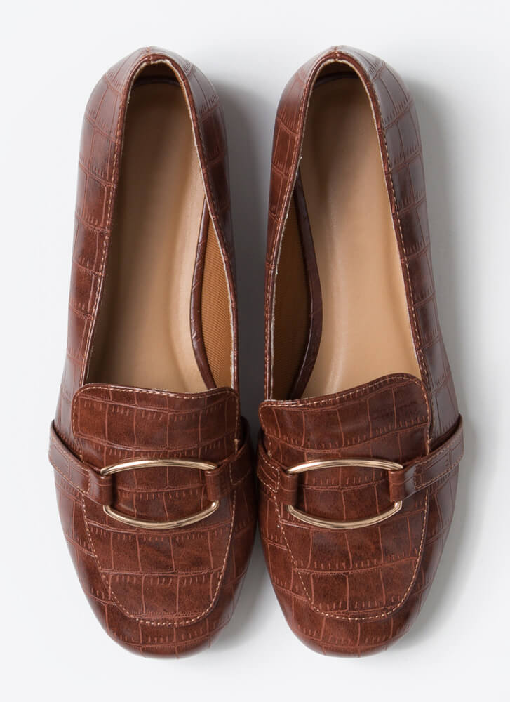 Classy Lady Faux Crocodile Loafers BROWN