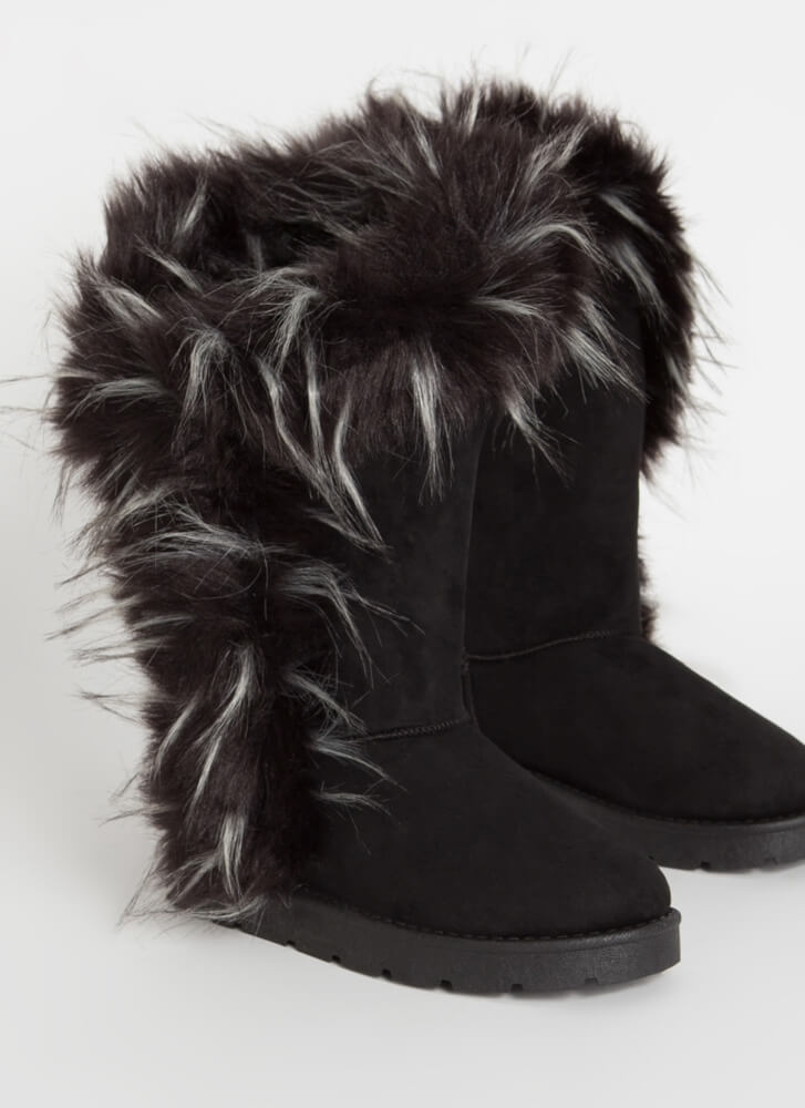 Shag Me Furry Trim Faux Suede Boots BLACK