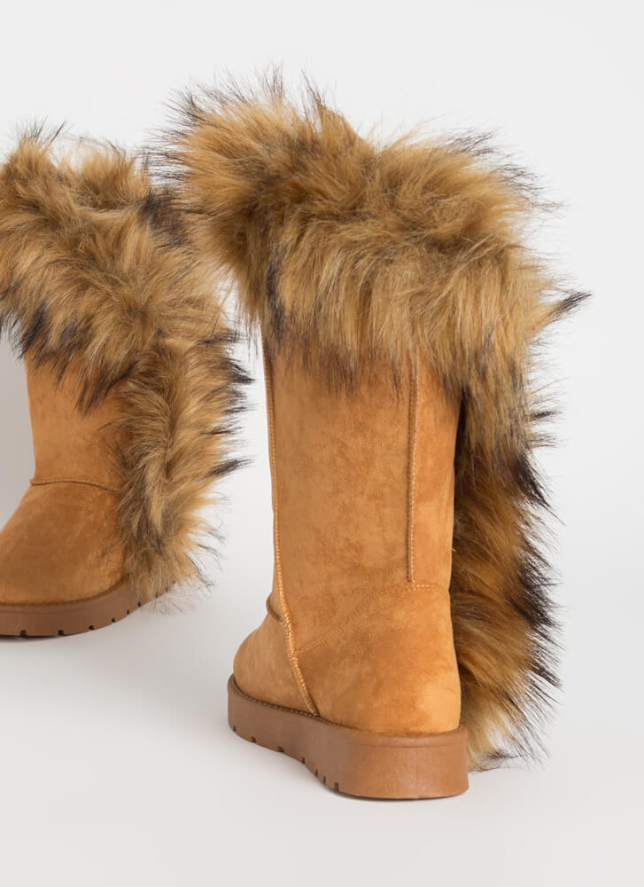 Shag Me Furry Trim Faux Suede Boots TAN