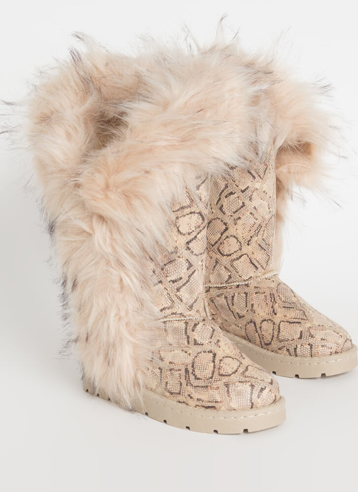 Shag Me Furry Trim Faux Snake Boots NUDE