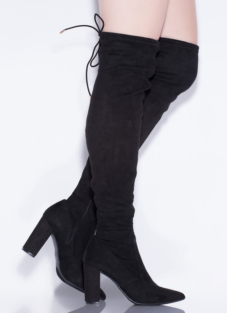 It's A Tie Game Pointy Thigh-High Boots BLACK