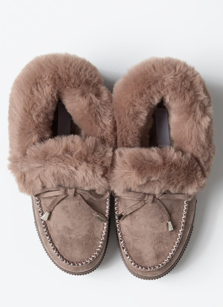 So Chill Furry Platform Moccasin Flats TAUPE