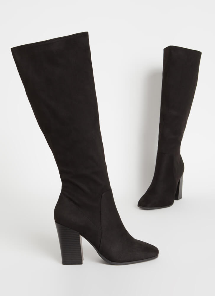 Around The Block Chunky Knee-High Boots BLACK