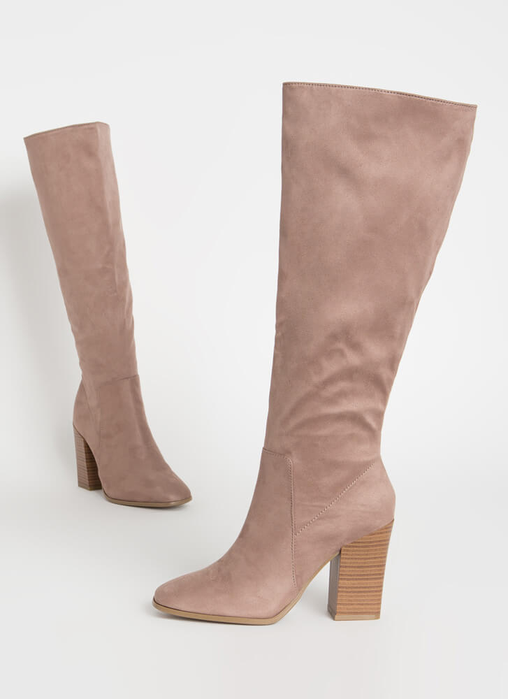 Around The Block Chunky Knee-High Boots LTTAUPE