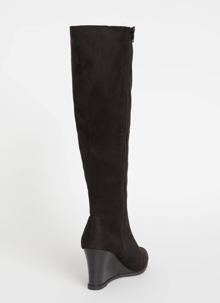 You Wish Knee-High Wedge Boots BLACK