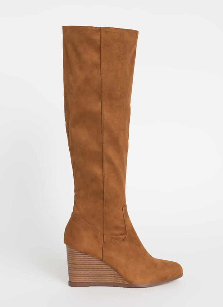 You Wish Knee-High Wedge Boots TOBACCO