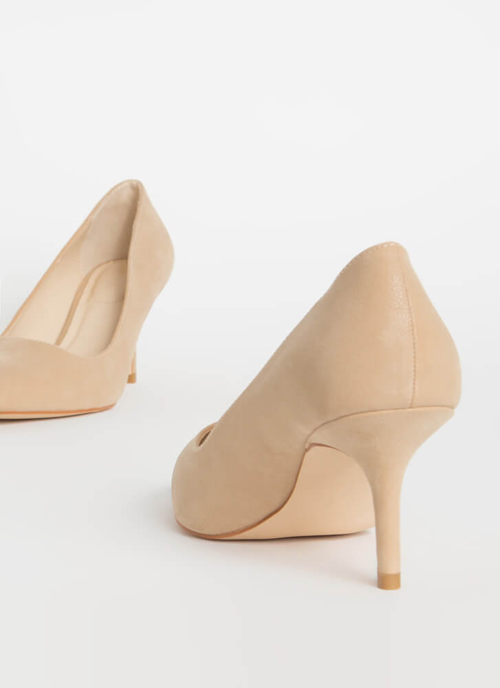 You Make A Good Point Faux Nubuck Pumps NUDE