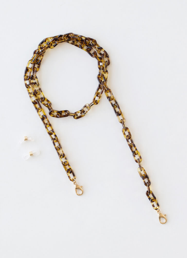 Link Up Tortoise Mask And Glasses Chain BROWN