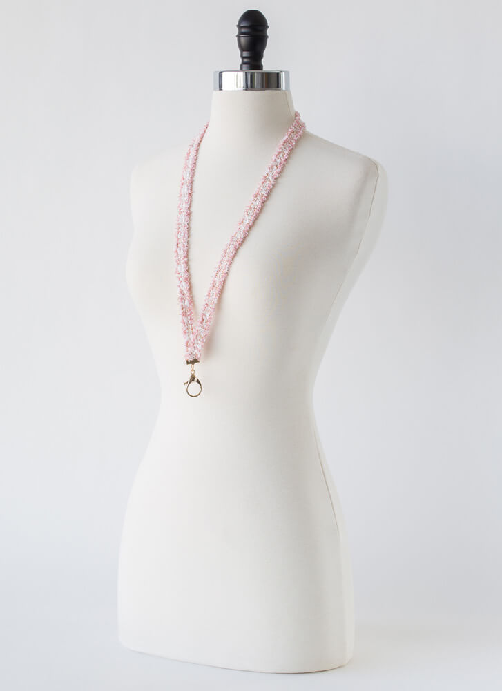 Luxe Upgrade Fuzzy Tweed Lanyard PINK