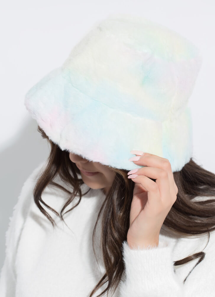 Cotton Candy Faux Fur Bucket Hat PINK