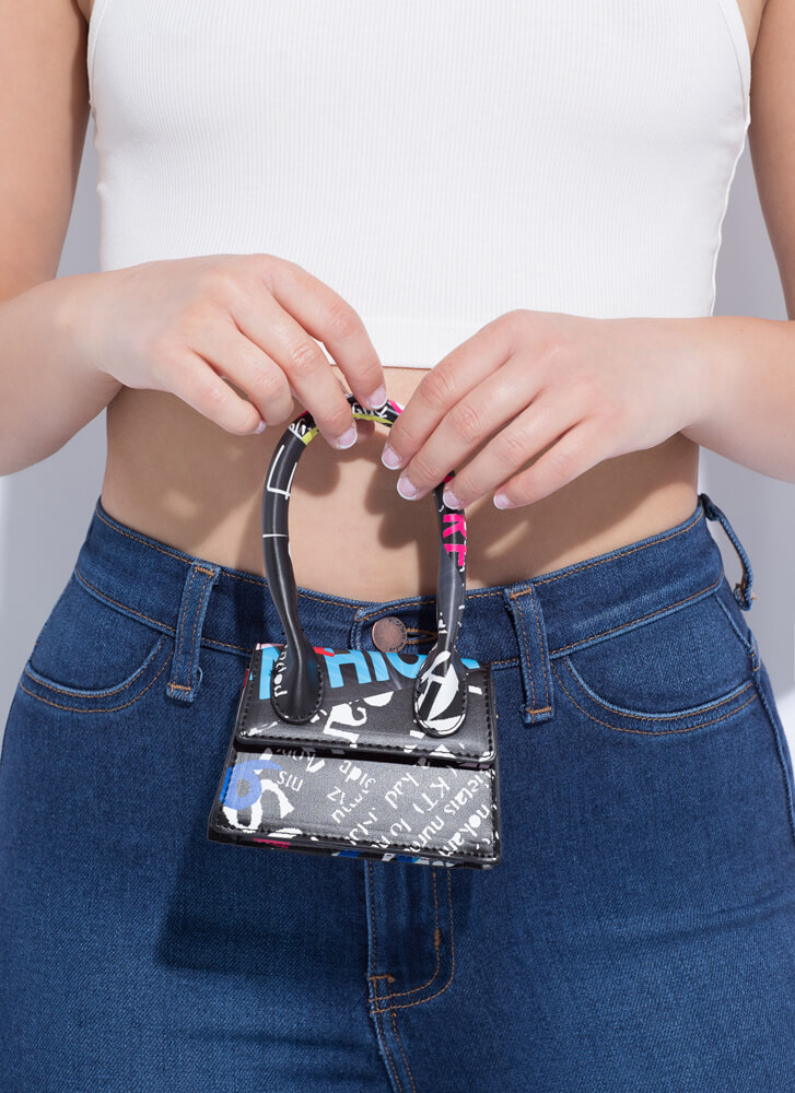 Handle It Text Print Micro Purse BLACK