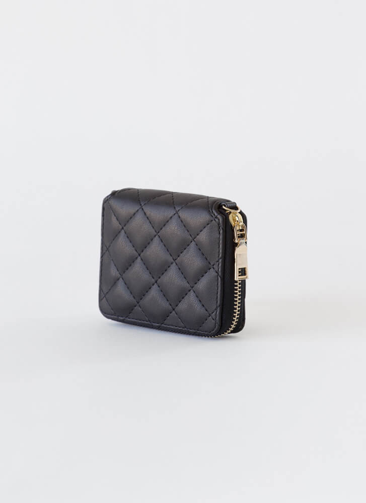 Payday Quilted Chain Strap Wallet BLACKGOLD