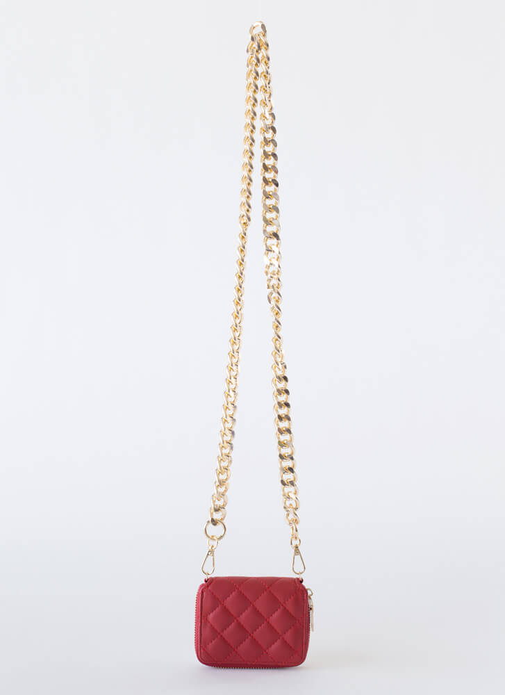 Payday Quilted Chain Strap Wallet REDGOLD