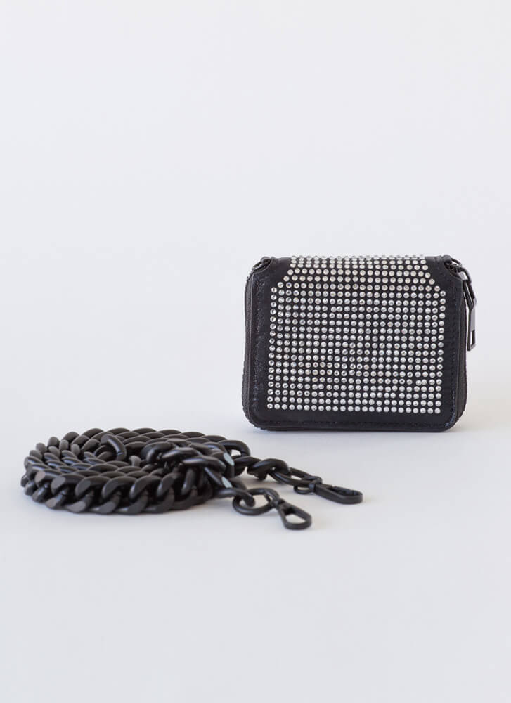 Payday Jeweled Chain Strap Wallet BLACKBLACK