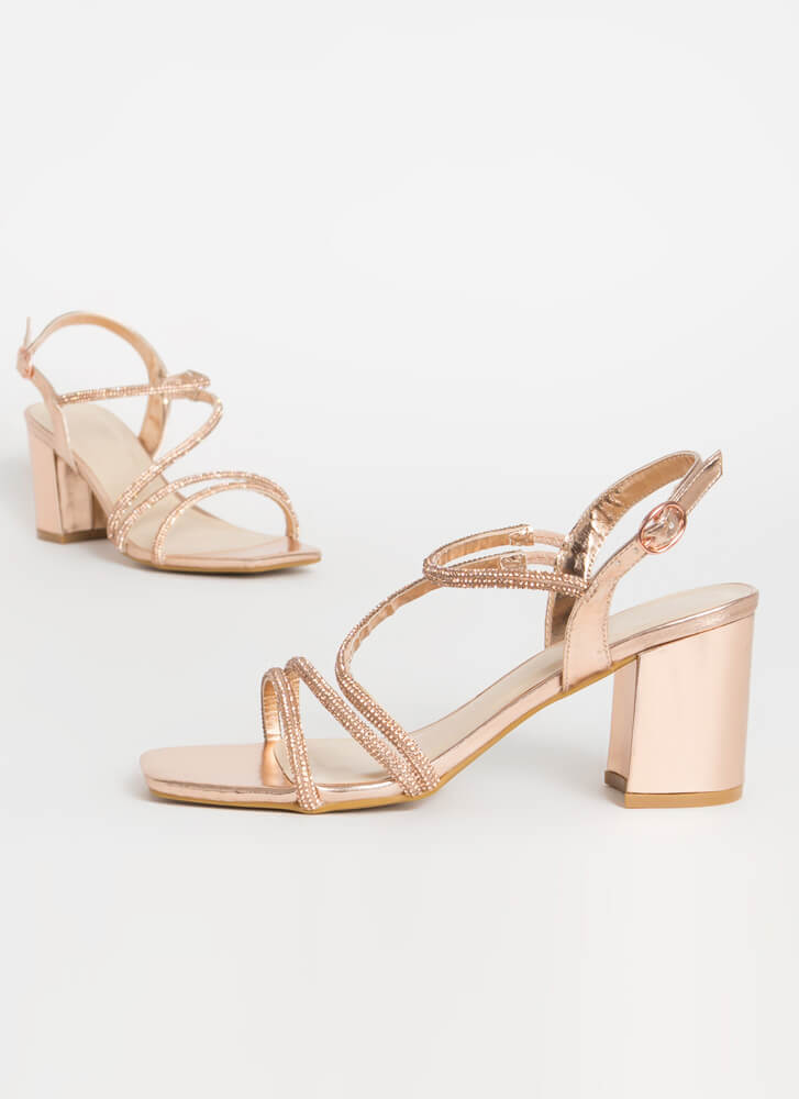 Forever Chunky Jeweled Metallic Heels ROSEGOLD
