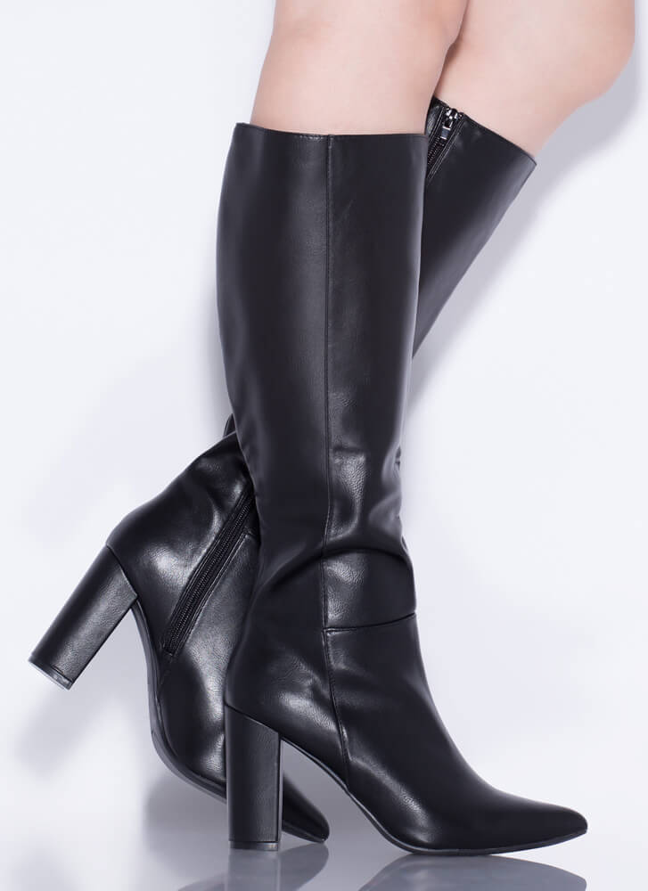 To The Point Chunky Faux Leather Boots BLACK