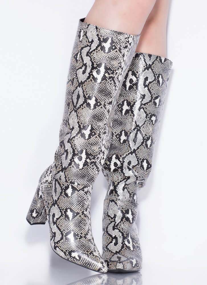 To The Point Chunky Snake Print Boots SILVER