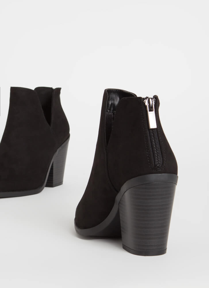 Notch Out Chunky Faux Suede Booties BLACK