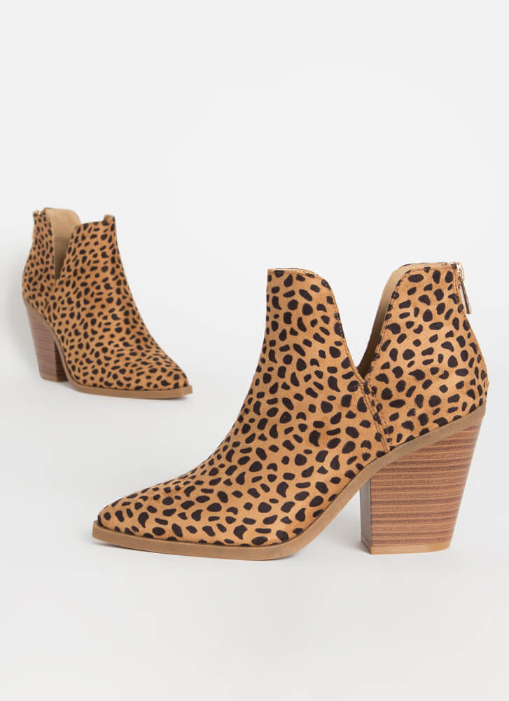Notch Out Chunky Faux Suede Booties CHEETAH