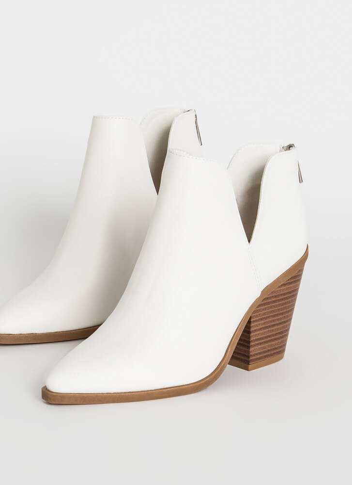 Notch Out Chunky Faux Leather Booties WHITE