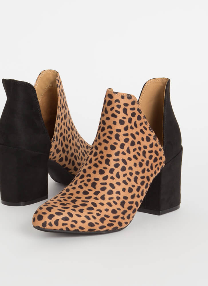 Top Notch Cut-Out Block Heel Booties CHEETAH