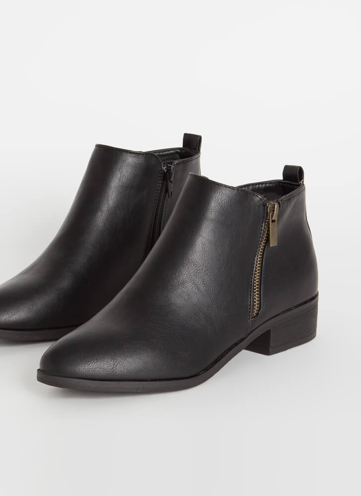 Zip Into Shape Faux Leather Booties BLACK
