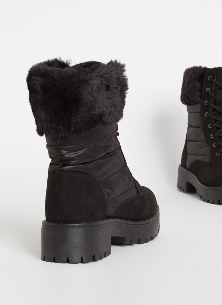 Satin And Furs Cuffed Faux Suede Boots BLACK