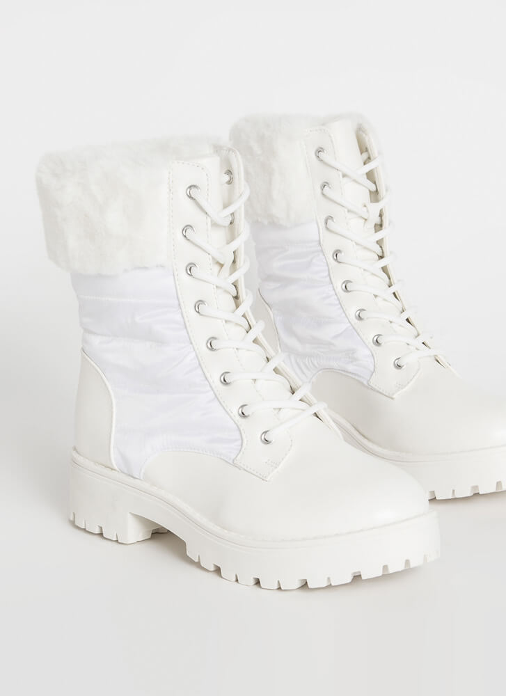 Satin And Furs Cuffed Faux Leather Boots WHITE