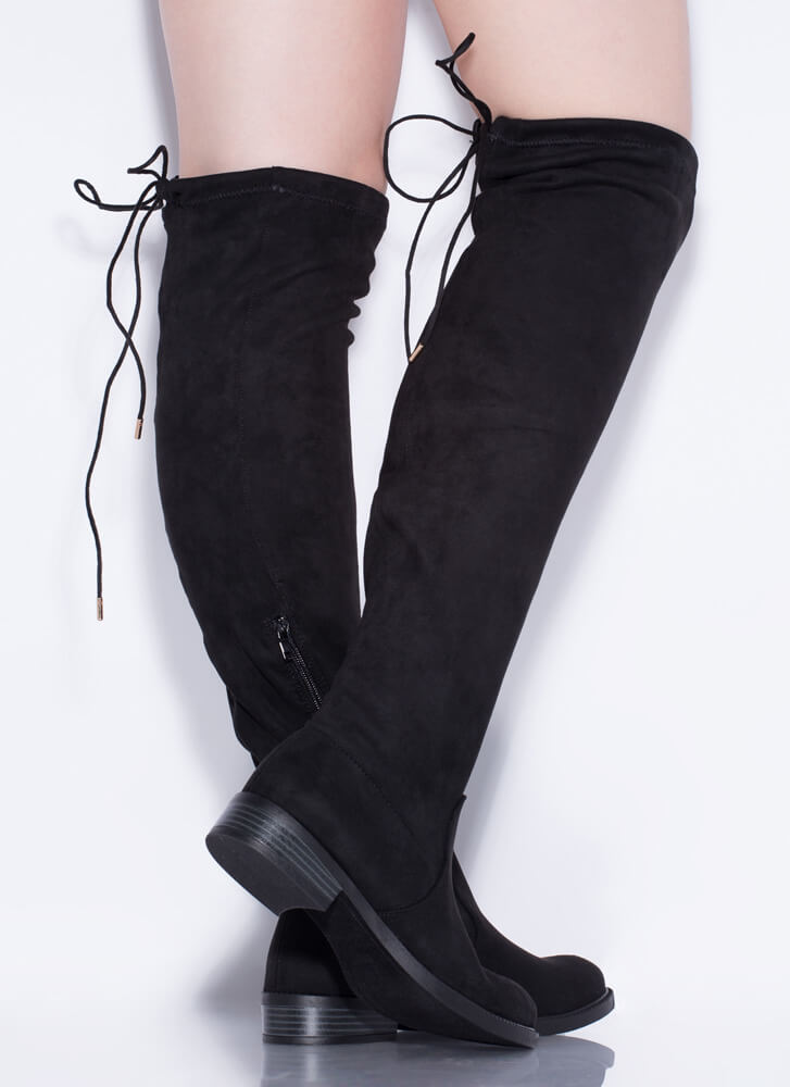 It's Tied Faux Suede Over-The-Knee Boots BLACK
