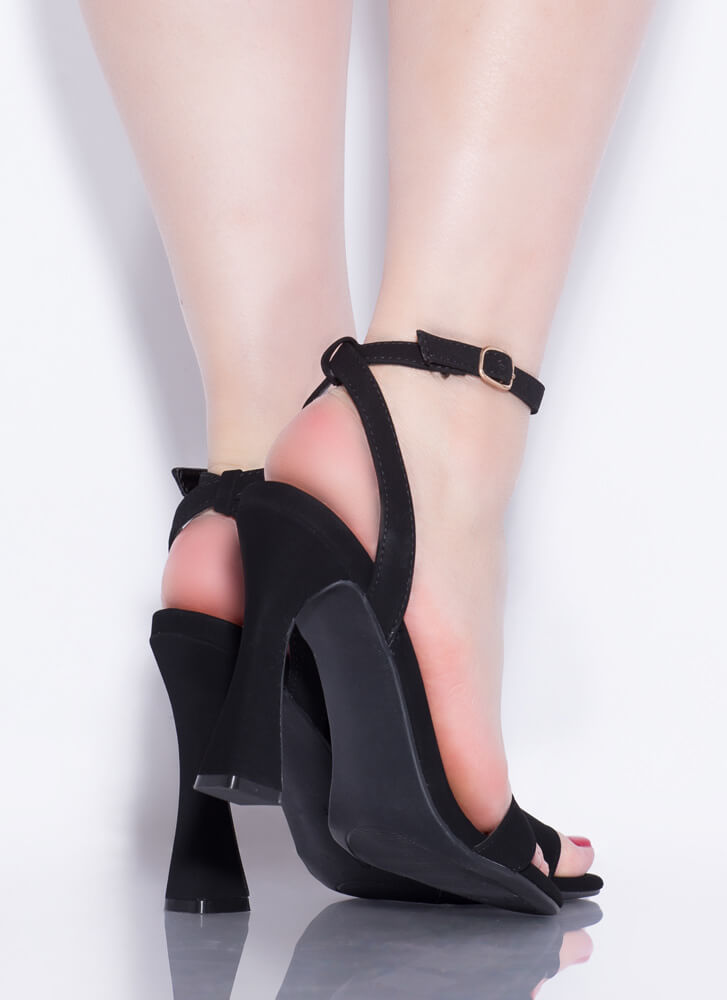 Add Flare Strappy Faux Nubuck Heels BLACK