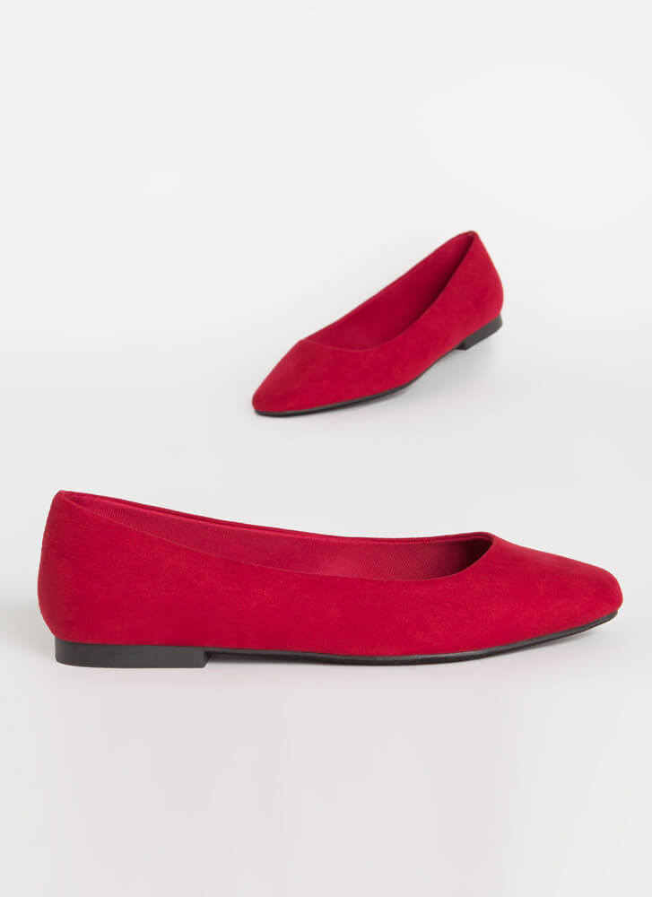 Walking Tour Faux Suede Ballet Flats RED