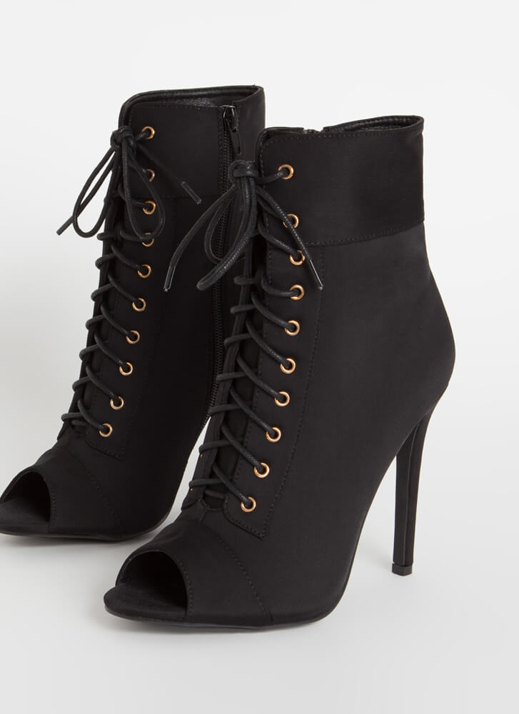 Everything Lace-Up Peep-Toe Booties BLACK